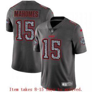 Chiefs #15 Patrick Mahomes Grey Jersey